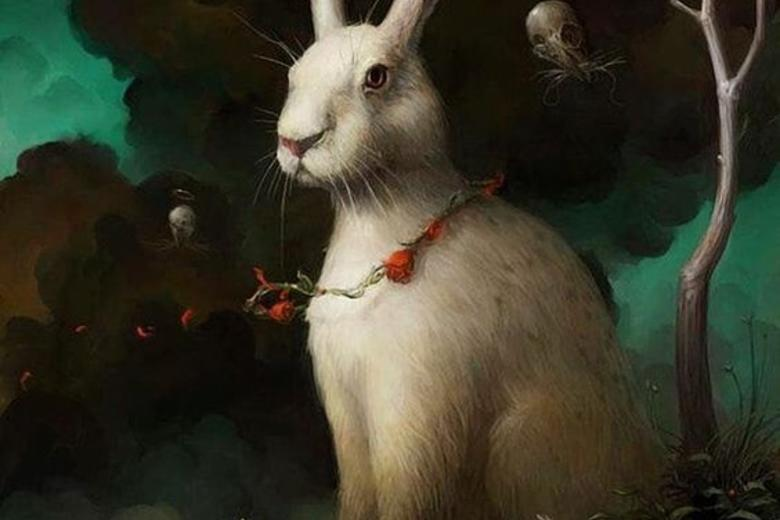 Brian Despain painting of rabbit with cornet on ear