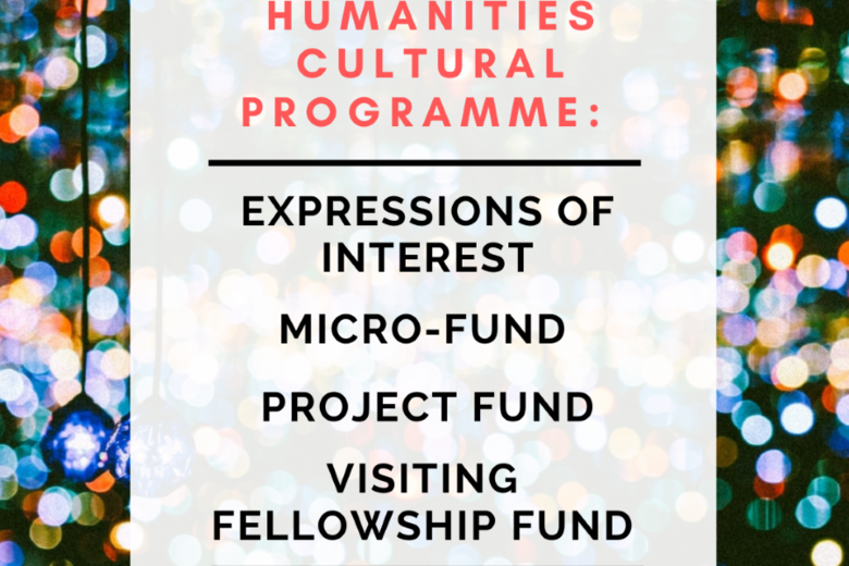 A background of small colourful circles of light, overlaid with a white box containing the words 'Humanities Cultural Programme: Expressions of Interest, Micro-Fund, Project Fund, Visiting Fellowship Fund'.