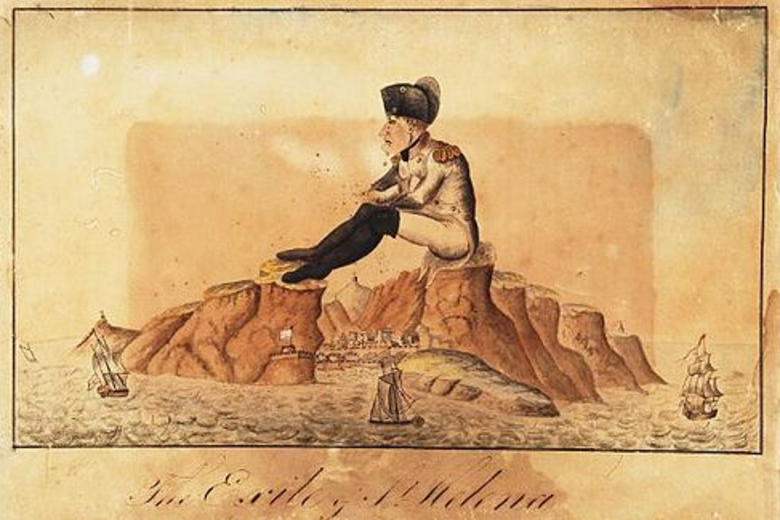 A colourful sketch. A gigantic napoleon sits on the rocks that form the port of St Helena. Sailing boats sail right under his legs.