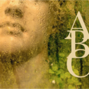 A statue behind a glass wall with condensation on and the letters A B C down the right hand side
