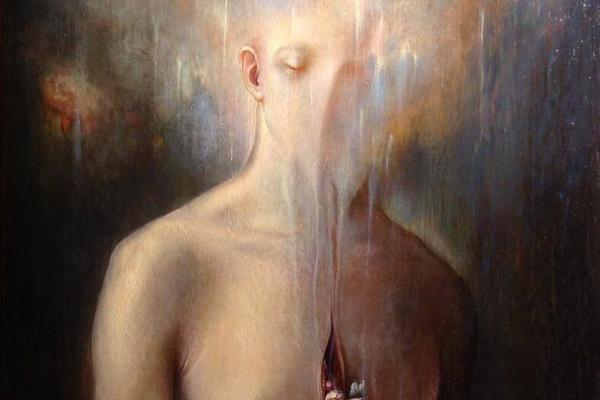 Agostino Arrivabene painting of person fading into background