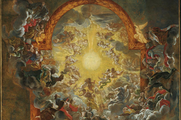 painting by baciccio showing the triumph of the name of jesus