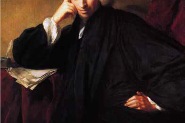 Painting of Laurence Sterne, in black attire, posing with his right elbow in a bent position, leaning on a table covered with sheets of paper, and his index finger on his temple and knuckles on his cheek and his left hand on his hip.