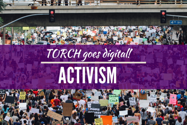Activism Carousel, purple stripe, crowds protesting