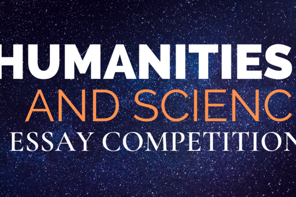 "Galaxy Background with text reading ""Humanities and Science Essay Competition"""