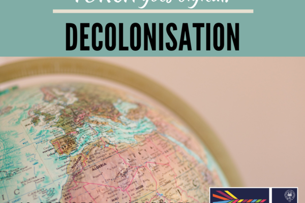 Globe overlaid with 'Torch Goes Digital! Decolonisation' and the dates 19 October - 1 November