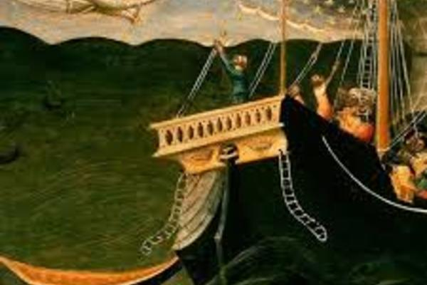 painting of angel greet St Nicholas on a ship