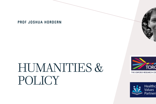 joshua hordern policy intro slide featuring a pink and white background, a black and white image of Prof Hordern, the TORCH logo, and the Humanities Value Partnership logo