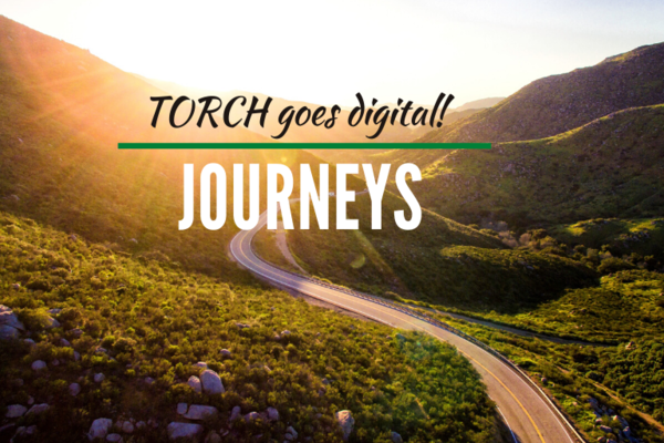 Sunlit scenery, text reads Torch Goes Digital: Journeys