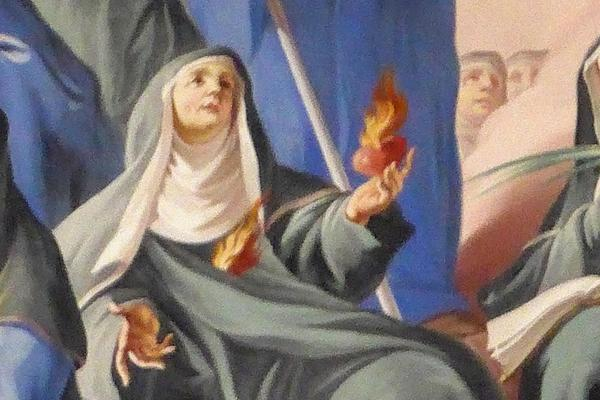 painiting of old woman looking up to the heavens as fire is in her hands