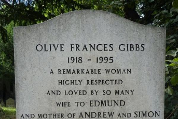 Olive Gibbs' headstone in St. Thomas's churchyard. Photo credit to Liz Woolley.