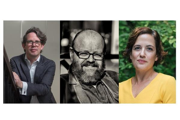 Photos of Philip Bullock (previous director), Wes Williams (new Director) and Maria del Pilar Blanco (new Academic Champion)