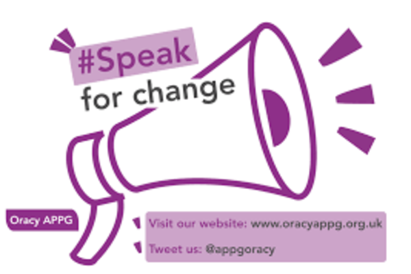 Speak for change logo displaying a drawing of a megaphone