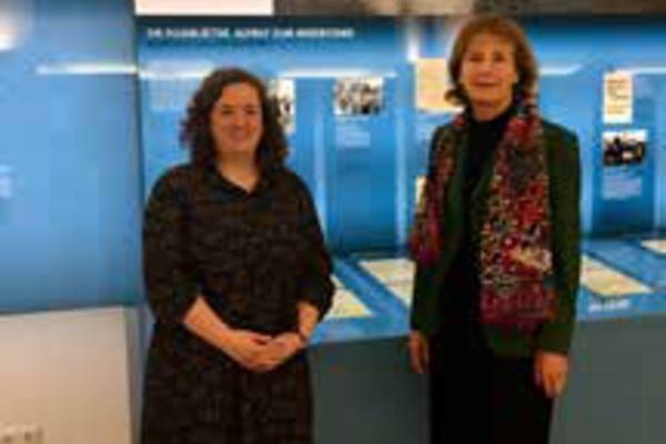 Dr Alex Lloyd (left) and Dr Hildegard Kronawitter at the White Rose Foundation's DenkStätte (permanent exhibition) in Munich, November 2019