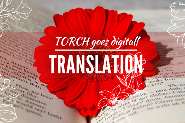 Translation Carousel - open book with red flower in the middle