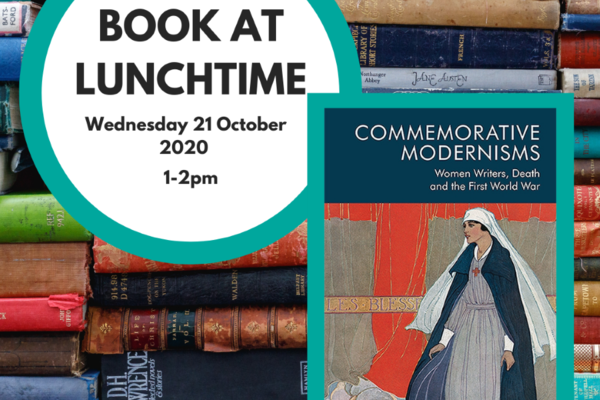Book at lunchtime circular logo with an image of the book cover, and the event date and time