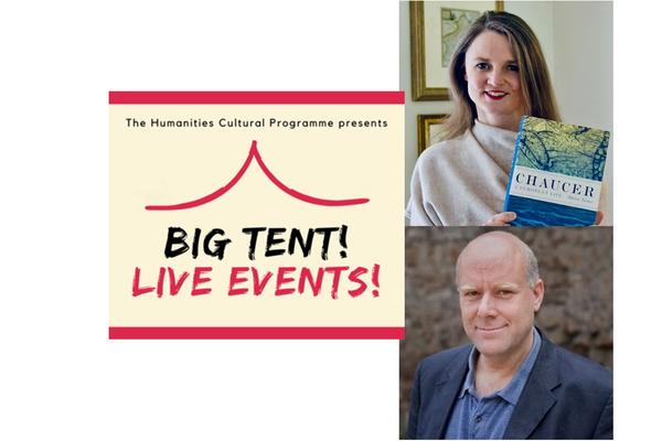 Marion Turner and Matthew Kneale next to the Big Tent! Live Events! cream and red logo