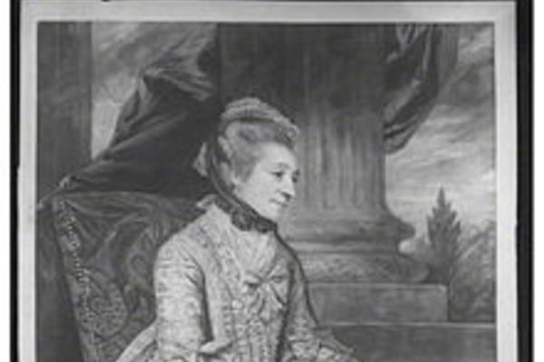 Black and white image of Elizabeth Montagu by John Raphael Smith after Joshua Reynolds