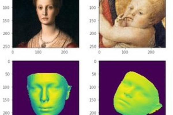 four images with measurements around them. The top two are paintings of a woman and a baby, the bottom two are computerised models of their faces.