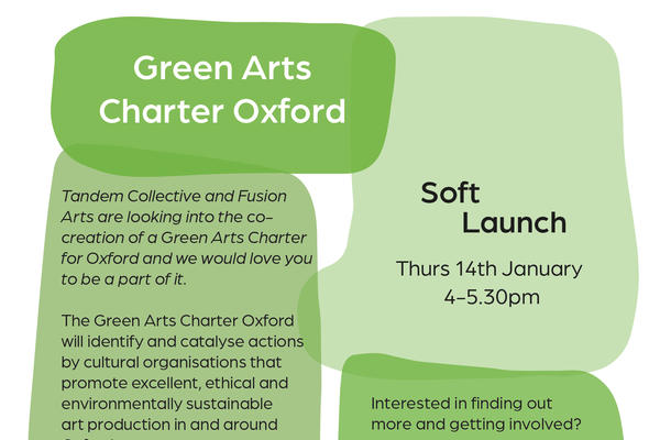 A poster for the Green Arts Charter Oxford, consisting of overlapping green bubbles and the text on this page.