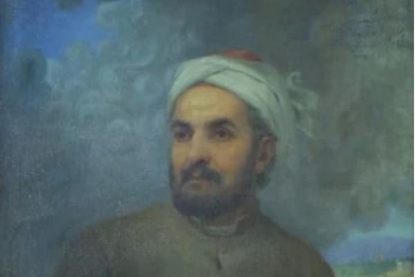 Painting of Hafez (spiritual poet), wearing grey coat holding pen and book, looking off to the left