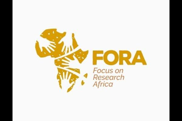 Gold logo of FORA - silhouette of Africa