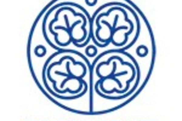 blue lined logo - four leave clover like pattern within a circle, words invisible east below