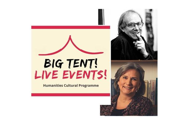 Big Tent Live Event logo with images on the right of Ken Loach and Judith Buchanan