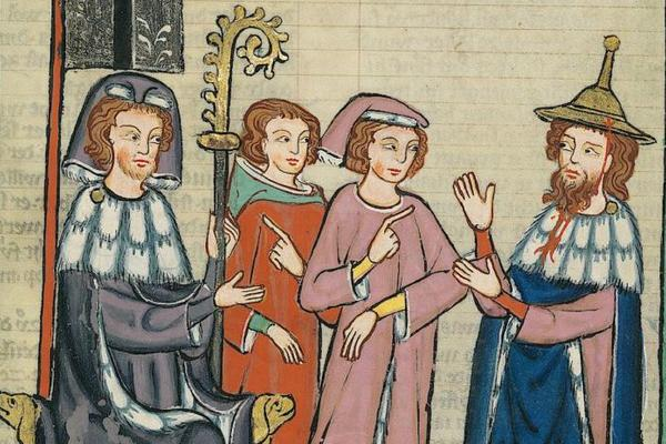 medieval manuscript image of group of four talking
