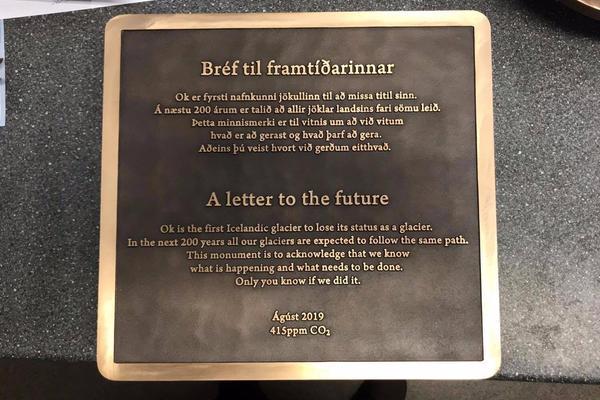 okjokull glacier commemorative plaque