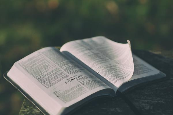 Book open to the psalms