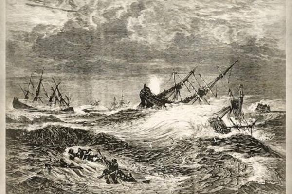 etching of ships being sunk in a storm