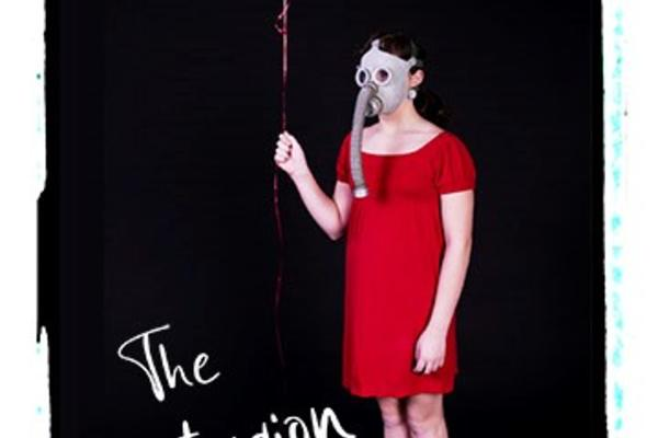 "A woman in a red dress, wearing a gas mask and holding a red balloon. Text reads ""The Contagion Cabaret"""