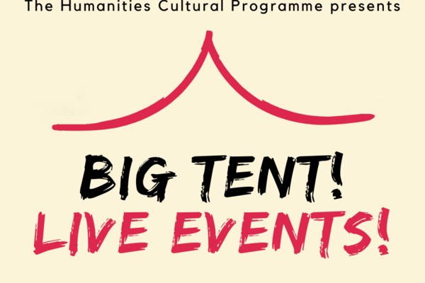 """Big Tent! Live Events!"" logo on cream and red background"