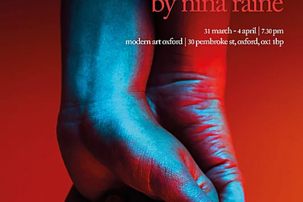 """Poster for """"Consent"""" of two clasped hands against a blurry red backdrop, text reads """"Consent by Nina Raine, Marriage isn't perfect, but it's all we've got"""""""