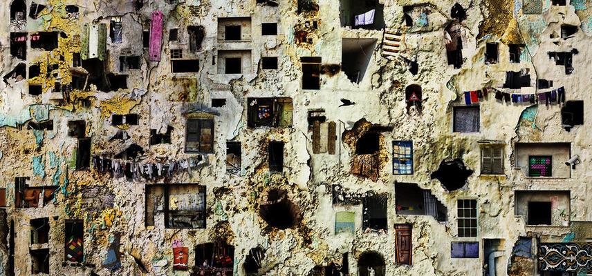 artistic image of broken building facade