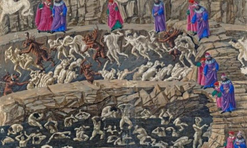 Drawing by Botticelli of Dante's hell