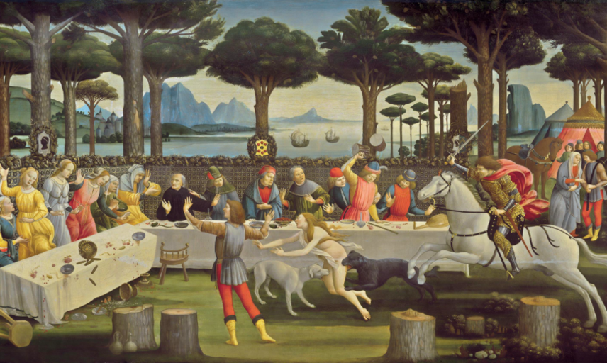 The Banquet in the Pine Forest, one of a number of pictures derived from tales in Boccaccio's Decameron