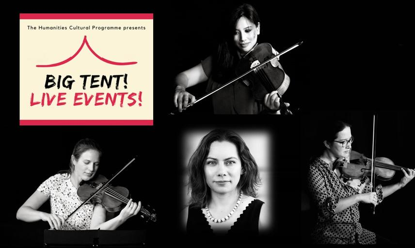 Image of 4 members of the Villiers Quartet - on a black background