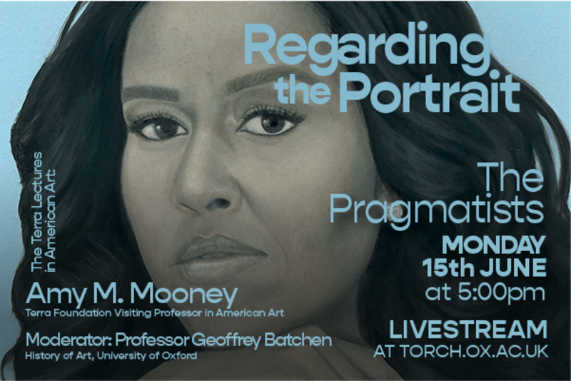 Torch event poster, with 'Regarding the Portrait' in blue text over a painting of a woman looking out at the viewer