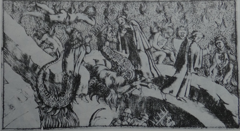 engraving of the desert of burning sands, descent on the back of Geryon