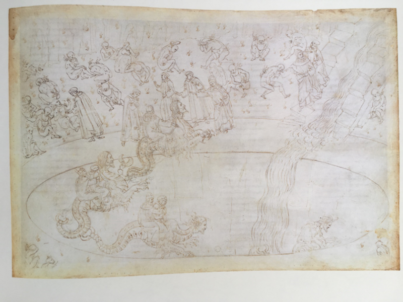 Drawing of descent on the back of Geryon into a pool