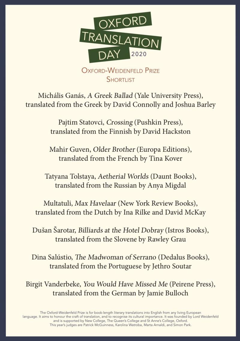 Oxford Translation Day poster with names of shortlist - shortlist available in body of page