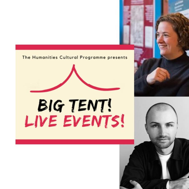 Alex Lloyd and Tom Herring next to the cream and red logo of Big Tent! Live Events!