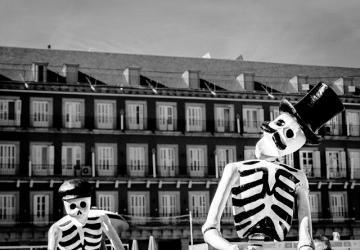 black and white bones building