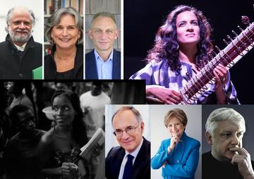 Portrait shots of eight people, two of them women holding instruments.