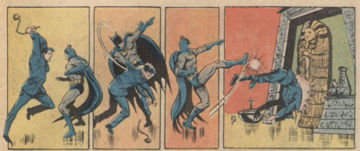 4 panels of a comic book showing batman fighting against red background