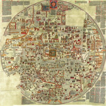 byzantine map in the circular with writing in the corners