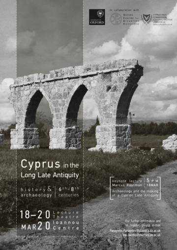 Keynote lecture: Marcus Rautman 'Archaeology and the making of a Cypriot Late Antiquity' (18 March 2020, 5 pm)