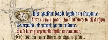 Medieval parchment, writing in blue and red (alternative lines)